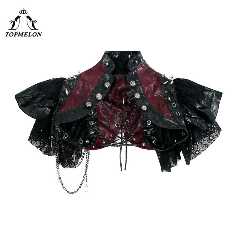 TOPMELON   Bustier     Corset   Lace Chains Short   Corsets   Tops for Women Retro Steampunk Accessories Rivets Leather Floral Corselet