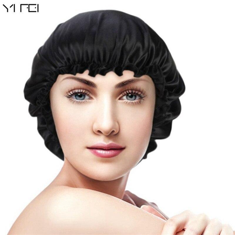 2018 New 100% Silk Nightcap Hair Styling Pure Silk Sleeping Hat Free Shipping Woman Beanie Fashion sets of cap