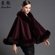 QiuMei Genuine Cashmere Shawls Fox Fur Female Free Size Fashion Real Fur Ponchos Women's Capes Luxury Brand Shawls and Scarves
