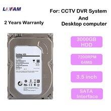LOFAM 3000GB 3.5 inch SATA monitoring Hard Drive 3TB Hard Disk 64MB 7200rpm for AHD DVR NVR cctv system and desktop computer use(China (Mainland))