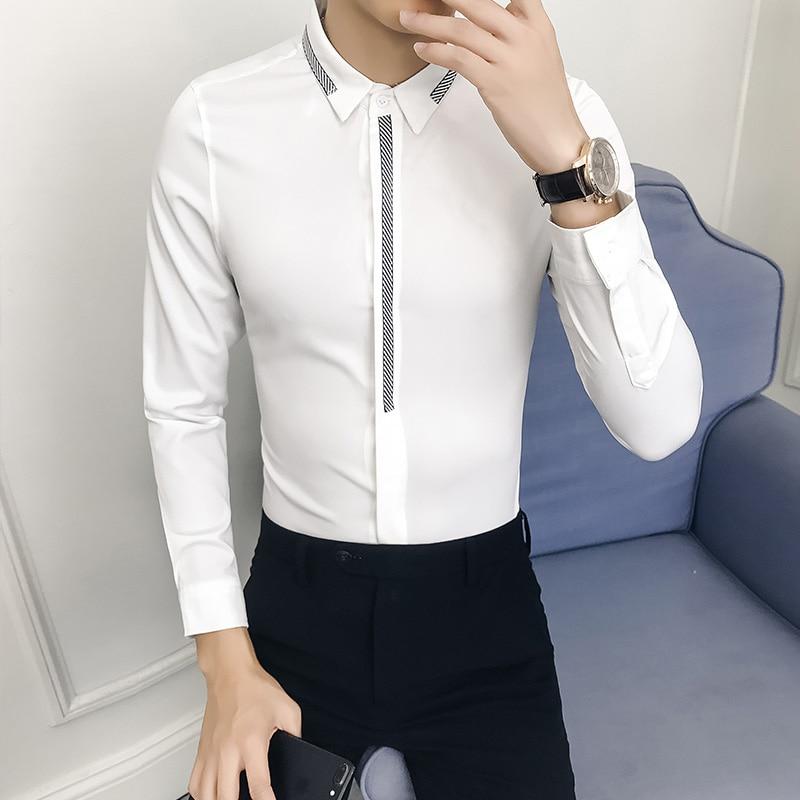 High Quality Solid Men Shirt Brand New Slim Fit Dress Shirts