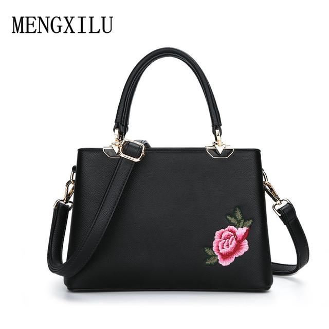 b858fd291a11 Embroidery Floral Luxury Ladies Handbags Women Designer Pu Leather Bags  Famous Brand Women Crossbody Bags Female