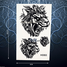 Unique Roaring Tiger Lion Tattoo Sticker For Women Men Body Art Arm Chest Decals Waterproof Fake Temporary Tattoo Stickers PH060