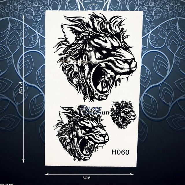 Unique Roaring Tiger Lion Tattoo Sticker For Women Men Body Art Arm Chest Decals Waterproof Fake Temporary Tattoo Stickers PH060