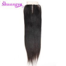 shuangya hair Brazilian straight hair lace closure 4*4 middle part closure 100% human hair non-remy hair 10″-20″ for black women