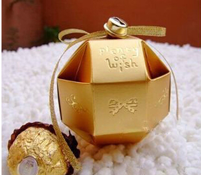 Gold Paper Candy Box With Ribbon And Bell Wedding Favors And Gifts