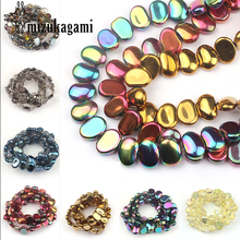 16*11mm 10pcs/lot Crystal Glass Beads Flat Smooth Oval Crystal Loose Beads For DIY Jewelry Making Finding Accessories