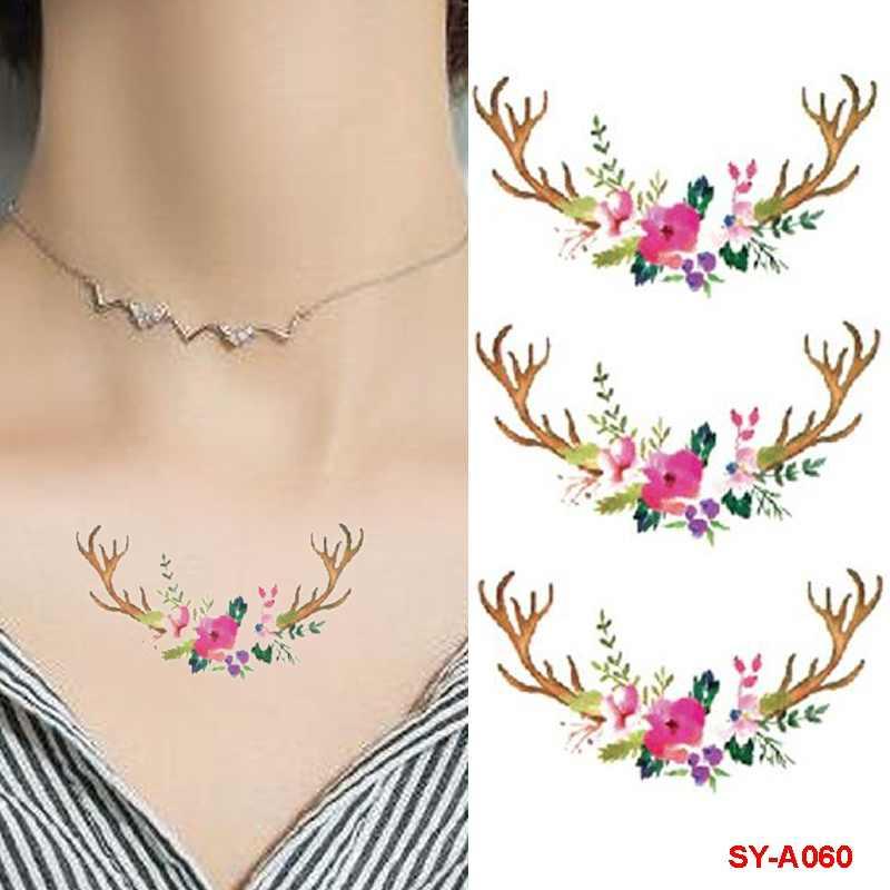 d3448c34c ... Waterproof Temporary Tattoos Sticker Tower Text Cartoon Animal Antlers  Flower Tree Fake Tattoo Body Finger Art ...