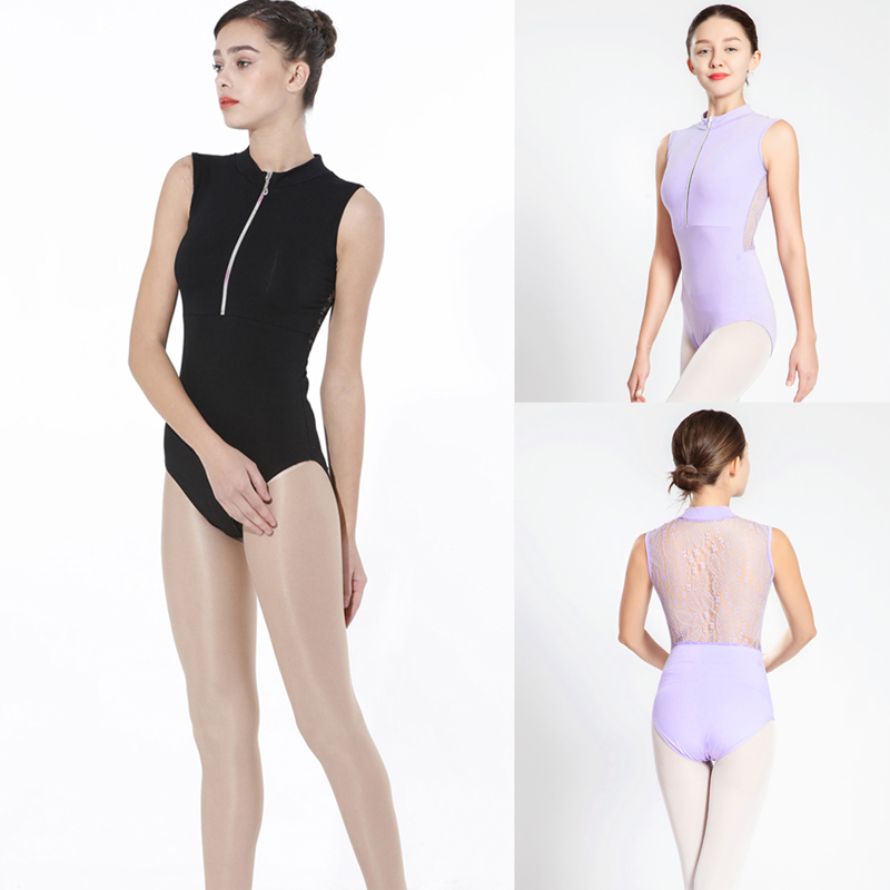 Gymnastics Leotard Adult 2019 New Design High Quality Zipper Sexy Lace Ballet Dress Ballet Leotards For Women Purple Leotard