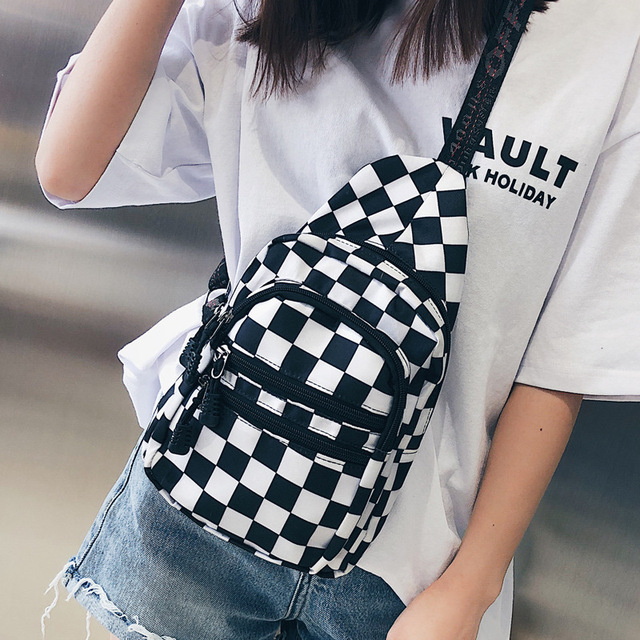 Hot Sale Waist Bag Women Men Unisex Chest Pack Lattice Checkerboard Fanny Pack Female Shoulder Belt Bag New Plaid Hands Free Bag by Mixtx