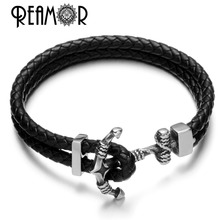 REAMOR Retro Genuine Braided Double Leather Bracelet With 316l Stainless Steel Anchor Connector Buckle Charms Wristband Bangle