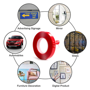 Image 4 - LUDUO 5pcs 3M Red Double Sided Self Adhesive Tape Car Stickers Acrylic Transparent No Traces Interior Super Fixed 8/10/15/20mm