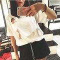 Новый 2016 женщин тенниски Карман Бродвее обнаженная девушка эротическое женский с коротким рукавом белая Футболка женщины топы тройники TS69