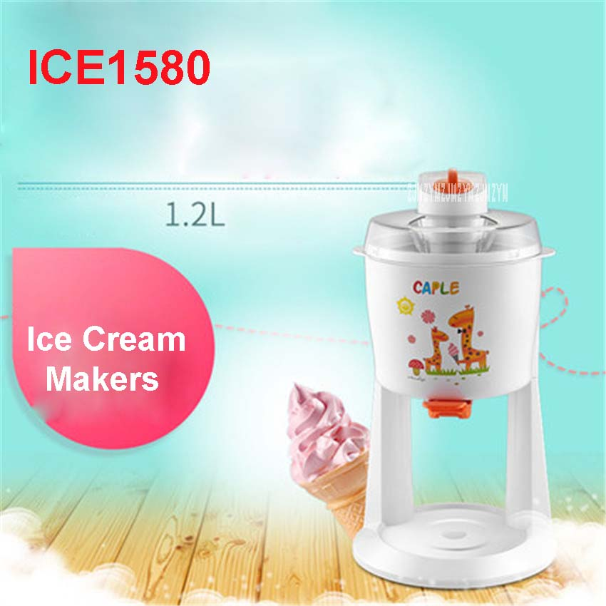 ICE1580 220V /50 Hz Household automatic ice cream maker DIY fruit ice cream machine ice cream cones 1.2L 18W Ice Cream Makers bl 1000 automatic diy ice cream machine home children diy ice cream maker automatic fruit cone soft ice cream machine 220v 21w