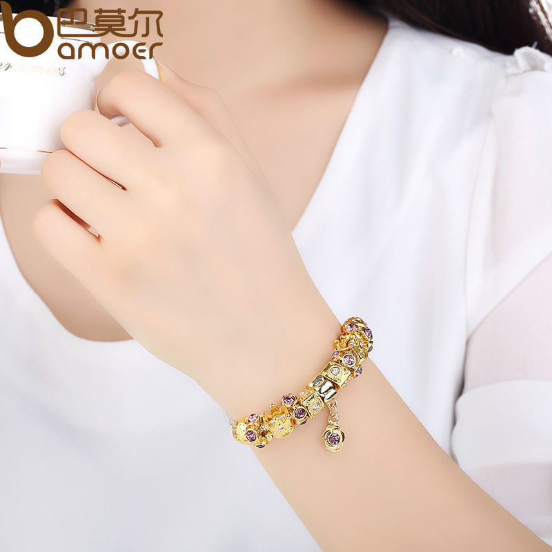 ... WOSTU Luxury Gold Color Charm bracelet for Women Chain Beads ... 770b7af0a