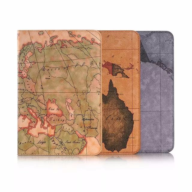 Case For Samsung Galaxy Tab A 8.0 T350 T355 Stand Folding Case For Galaxy Tab A 8.0 P350 P355 Cover Retro Map Pattern Funda+ Pen