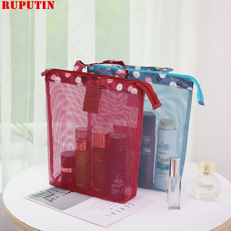 RUPUTIN Multi Purpose Storage For Beach Pool Trip Women Outdoor Bags Female Mesh Bag Swimming Bag Travel Handhold Cosmetic Bag