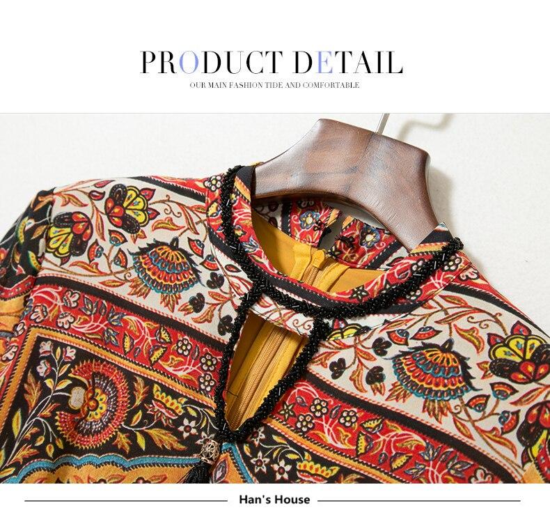 d4bc1f3d3a 100% Silk Dress Women Ethnic Print Beading Hollow O Neck Three ...