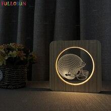 3D Effect LED Desk Lamp Wood Acrylic Lamp Rugby Cap Night Light as Kids Baby Bedroom Decor Lamp new design nordic wood night lamp cute cat led usb lights warm white night light baby kids sleep lamp as art decor