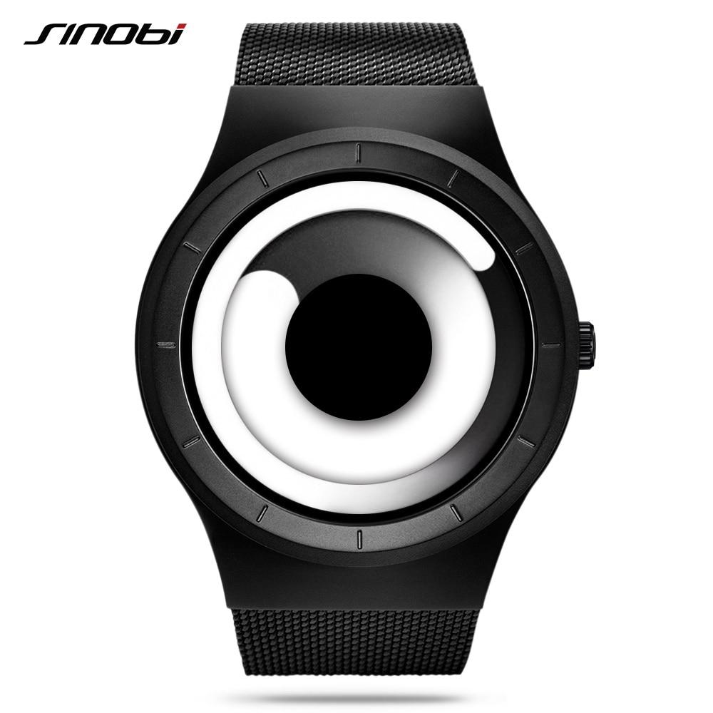 Único vórtice concepto reloj de los hombres de alta calidad de 316L de acero inoxidable Milán banda tendencia moderna negro deporte relojes de pulsera para hombre caliente