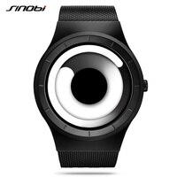 Unique Vortex Concept Watch Men High Quality 316L Stainless Steel Milan Band Modern Trend Sport Black