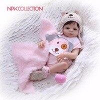 NPKCOLLECTION 46cm Full Body Silicone Reborn Girl Baby Doll Toys Newborn Princess Babies Dolls Bathe Toy Play House Toy Doll
