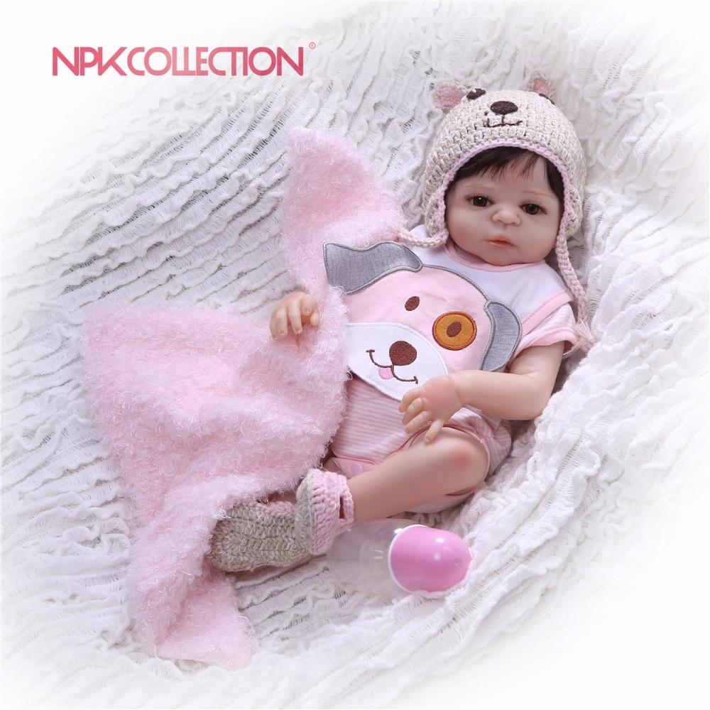 Npkcollection 46cm 전신 실리콘 환생 소녀 아기 인형 장난감 신생아 공주 아기 인형 목욕 장난감 놀이 집 장난감 인형-에서인형부터 완구 & 취미 의  그룹 1