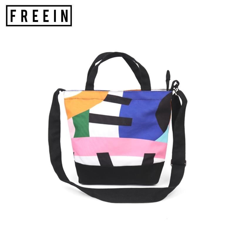 Woman Handbag Small Tote Bag Printing Canvas Bag Diagonal Small Bag Multi-Purpose Bag Color Matching Design