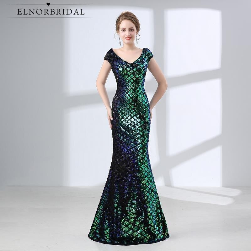 Elnorfairy vert paillettes robes De soirée sirène 2019 Robe De soirée femmes robes formelles Galajurk Robe De soirée Photo réelle