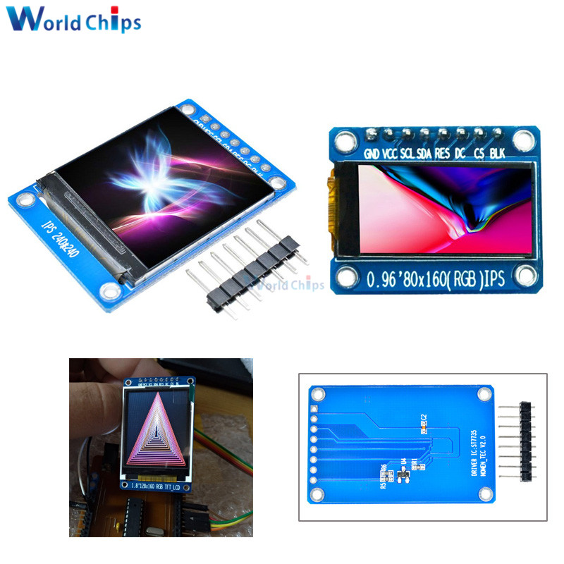 "0.96 1.3 inch 1.44"" 1.8"" Serial 128*128 128*160 80*160 240*240 65K SPI Full Color TFT IPS LCD Display Module Board Replace OLED