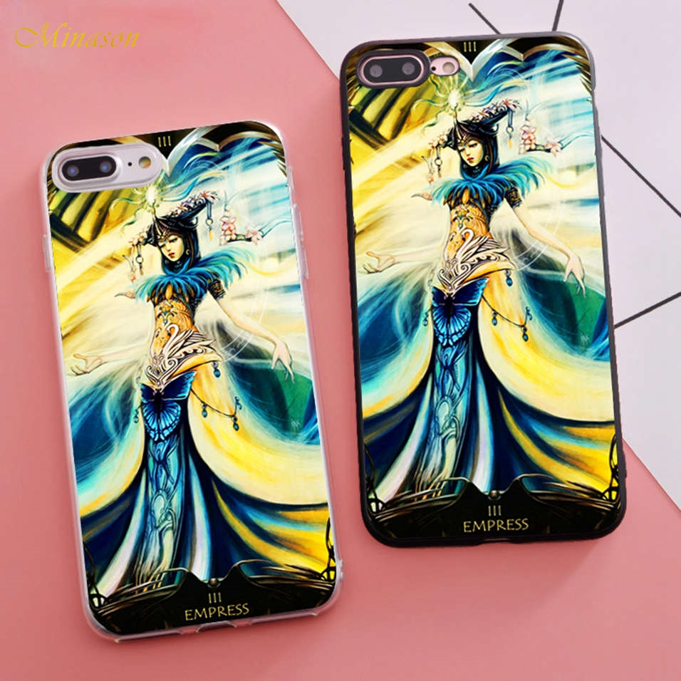 Minason Girly Soft Silicon Coque Tarot Cards Fitted Housings Phone Case for iPhone X 5s SE 6 S 6s 7 8 Plus Cover Rubber Bumper