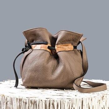 2019 Spring And Summer New Genuine Leather Women Bucket Bag Korean Fashion Shoulder Bags Solid Color WildLeisure Messenger Bags