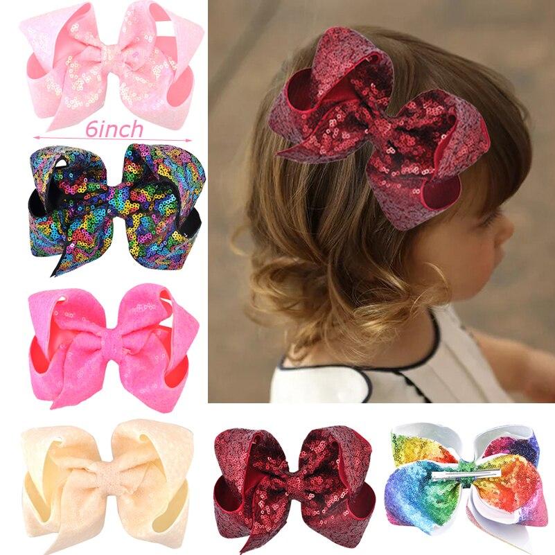 6 Inch Women Large Sequin Grosgrain Ribbon Hair Bow Alligator Clips Barrette Bowknot Headwear Children Girls Hair Accessories