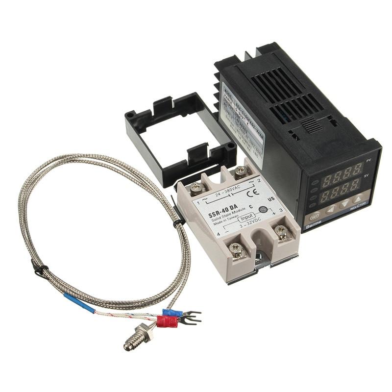 Digital  110-240V PID Temperature Controller + 40A SSR + K Thermocouple Termostat REX-C100FK02-V*AN DA стоимость