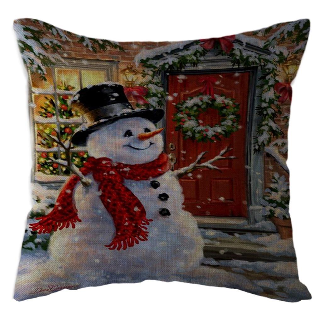 Printing Santa Claus snowman Cotton Linen Pillow Case Cushion Home Décor Cover