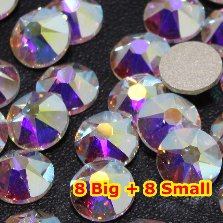 288pcs/Lot, AAA New Facted (8 big + 8 small) ss30 (6.3-6.5mm) Crystal AB Nail Art Glue On Non-hotfix Rhinestones brand new 2015 6 48 288 a154