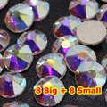 288pcs/Lot, AAA New Facted (8 big + 8 small) ss30 (6.3-6.5mm) Crystal AB Nail Art Glue On Non-hotfix Rhinestones