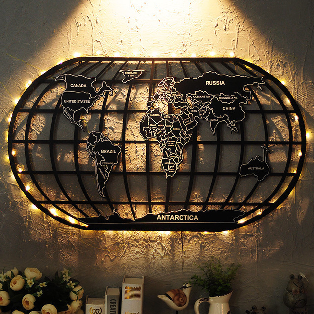 Industrial Style Decoration World Map Wrought Iron Wall Decoration