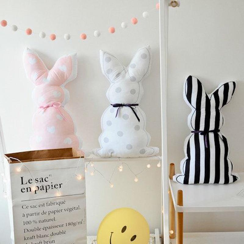 Cotton Kids Pillow For Feeding Rabbit Baby Room Wall Decoration Newborn Soft Cushion Plush Stuffed Toys For Children Photography