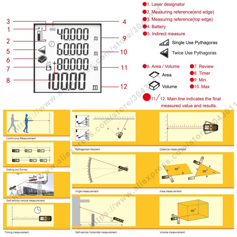 Laseri kaugusmõõtjad Piirkond / maht / kaugus / Pythagoras - Mõõtevahendid - Foto 4