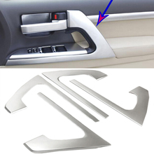 Автомобиль-Стайлинг ABS Хром двери автомобиля подлокотник полоса крышка Накладка 4 шт. для Toyota Land Cruiser LC200 2008- 2016