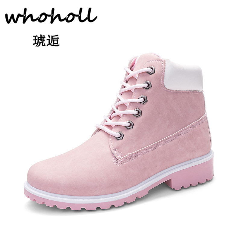 Whoholl 2018 Vintage Style Genuine Leather Women Boots Flat Booties Soft Cowhide Womens Shoes Lace-up Ankle Boots Zapatos Mujer