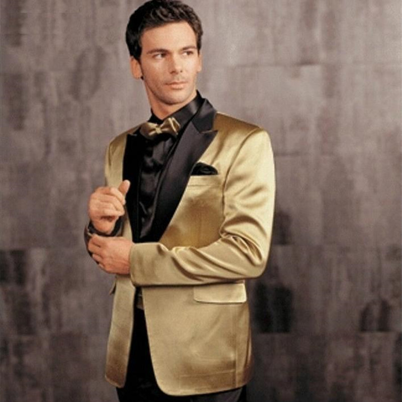 Gold Jacket Black Pants Groom Tuxedos Peak Lapel Groomsman Men Wedding Suits One Button Bridegroom Suit (Jacket+Pants+Bow Tie)