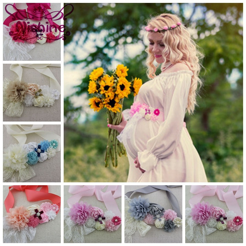Fashion Girls Women Sash With Elastic Headband Set Chiffon Flower Pregnant Women Children Belt Sash Maternity Sash Photo Prop