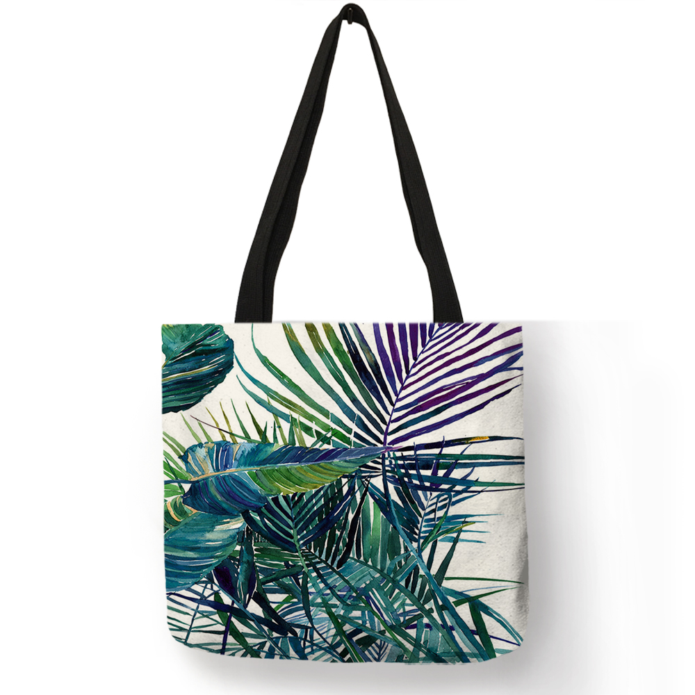 Flesh Style Women Totes Tropical Green Plant Leaves Prints Hand Bags Eco Linen Girls School Office Decorative Shoulder BagFlesh Style Women Totes Tropical Green Plant Leaves Prints Hand Bags Eco Linen Girls School Office Decorative Shoulder Bag