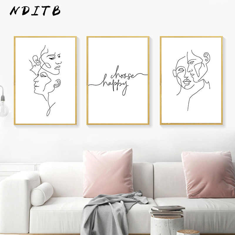 Abstract Minimalist Canvas Poster Print Wall Art Line Drawing Poster Painting Nordic Decoration Picture Modern Living Room Decor