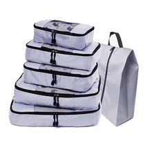 QIUYIN 5 Set Packing Cubes Lightweight Travel Luggage Organizer Suitcase Organizers Laundry Bag(Grey)(Red)(Violet)