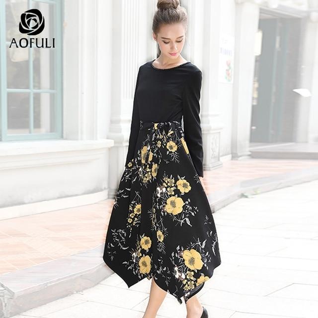 8794a7a75d AOFULI M L XL kobiety jesień sukienka asymetryczna kwiaty długi rękaw z  nadrukiem Patchwork sukienka duży rozmiar