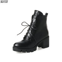 SKLFCXZY New arrival autumn high heel 100% leather boots for women lace up riding boots work boots women shoes size 34 43