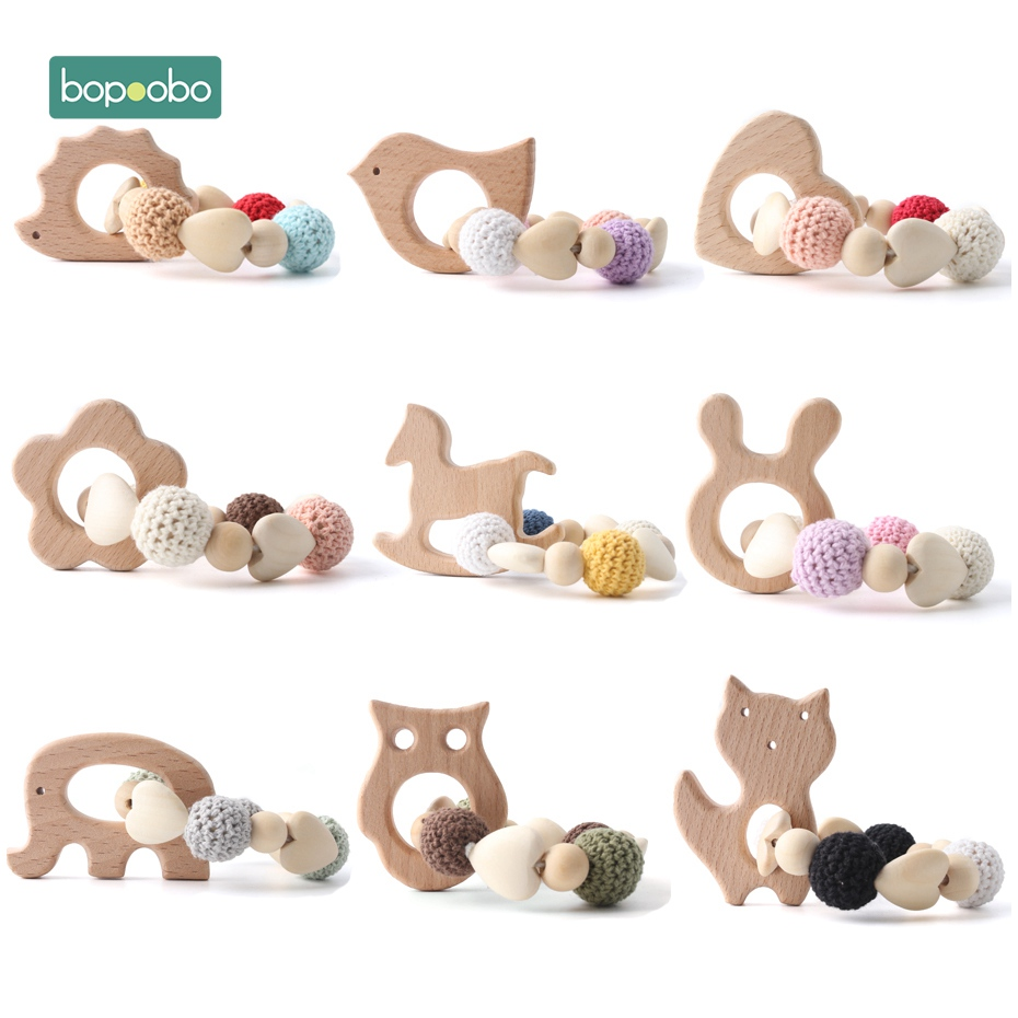 Bopoobo 1pc bebê mordedor de madeira chocalho crochê grânulos presentes para ano novo dentição pulseira grau alimentício mordedor brinquedos seguros